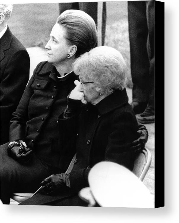 History Canvas Print featuring the photograph President Harry Trumans Funeral. Bess by Everett