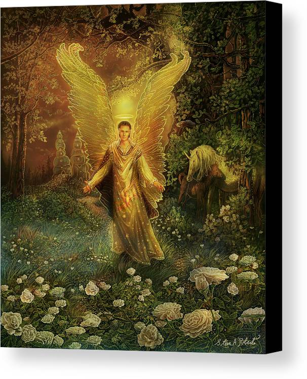 Angel Canvas Print featuring the painting Archangel Azrael by Steve Roberts