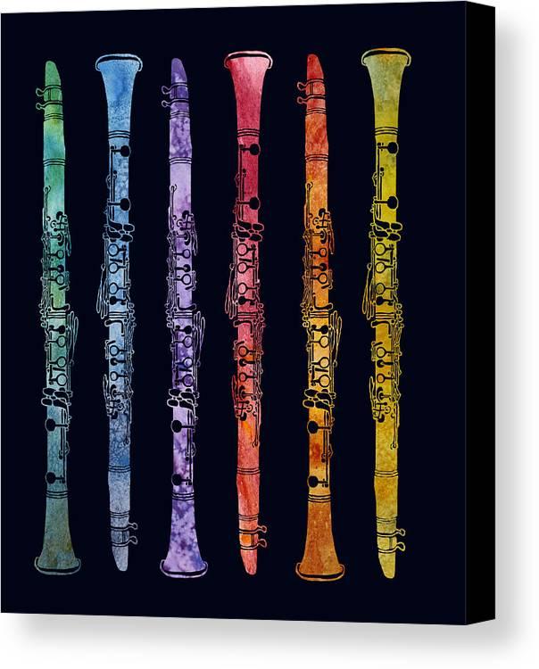 Clarinets Canvas Print featuring the digital art Clarinet Rainbow by Jenny Armitage