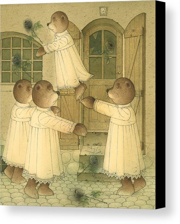 Bears Night Dark Magic Glamour Black Roses Canvas Print featuring the drawing Florentius The Gardener23 by Kestutis Kasparavicius