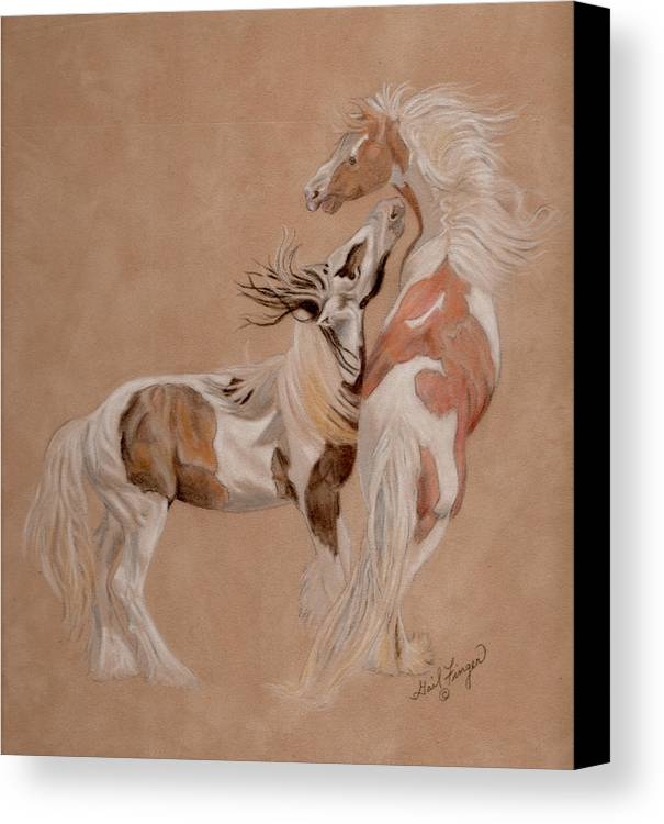 Gypsy Horses Canvas Print featuring the painting Gypsy Horses At Play by Gail Finger