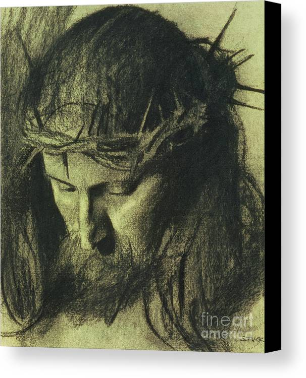 Head Of Christ Canvas Print featuring the drawing Head Of Christ by Franz Von Stuck