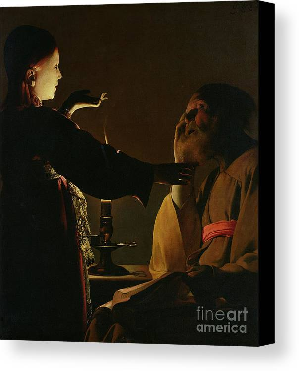 Joseph And The Angel Canvas Print featuring the painting Jospeh And The Angel by Georges de la Tour