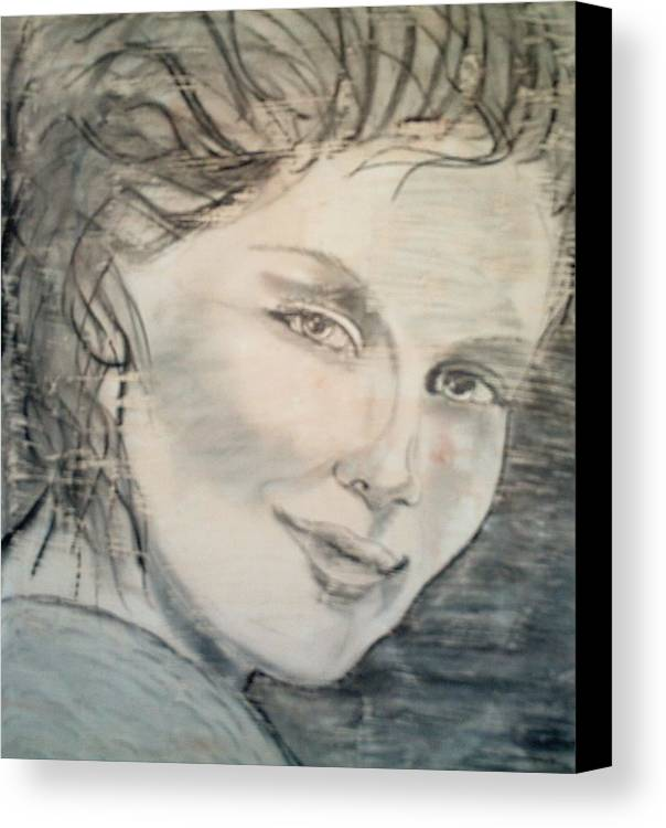 Woman Canvas Print featuring the drawing Savannah Smiles Again by J Bauer