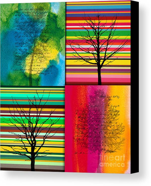 Action Canvas Print featuring the painting Seasons by Ramneek Narang