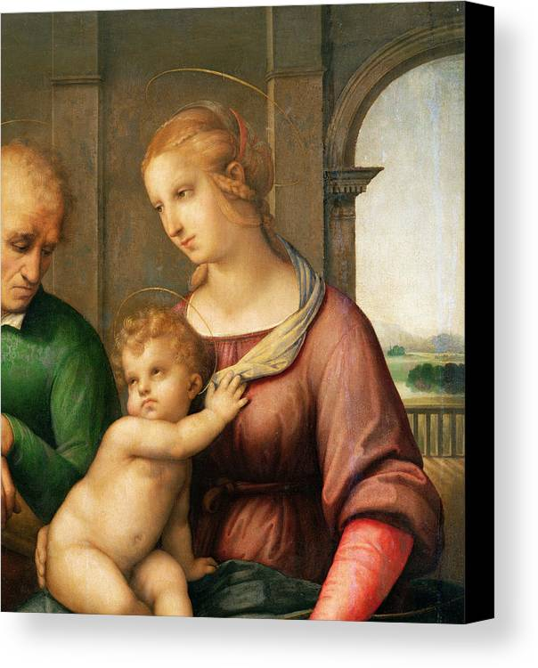 The Canvas Print featuring the painting The Holy Family by Raphael