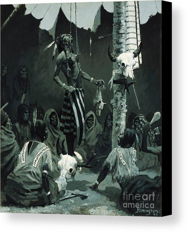 Mandan Initiation Ceremony (the Sundance) 1888 (oil On Board)the Okipa Ceremony In Which Young Mandan Warriors Were Suspended With Wooden Skewers Through The Skin Of Their Chests; Indian Canvas Print featuring the painting The Sundance by Frederic Remington