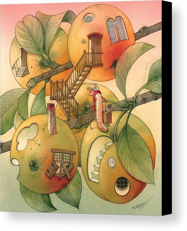 Worm Autumn Apple Garden Home Tree Evening Canvas Print featuring the painting Trawelling Worm by Kestutis Kasparavicius