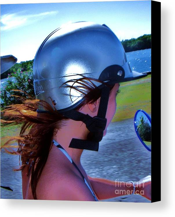 Scooter Canvas Print featuring the photograph Wind In The Hair by Vesna Antic