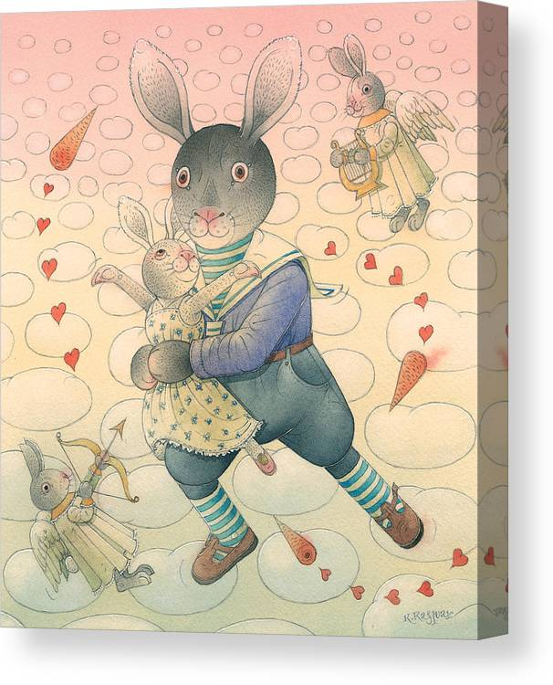 Dance Flirt Love Sky Romantic Canvas Print featuring the painting Rabbit Marcus The Great 06 by Kestutis Kasparavicius