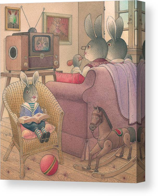 Evening Family Tv Rabbit Animal Canvas Print featuring the painting Rabbit Marcus The Great 08 by Kestutis Kasparavicius