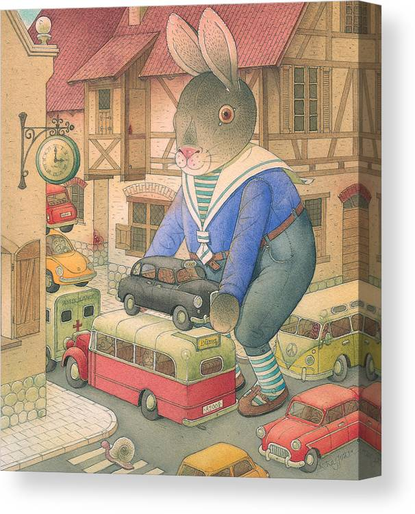 Rabbit Car Street Red Town Accident Canvas Print featuring the painting Rabbit Marcus The Great 18 by Kestutis Kasparavicius