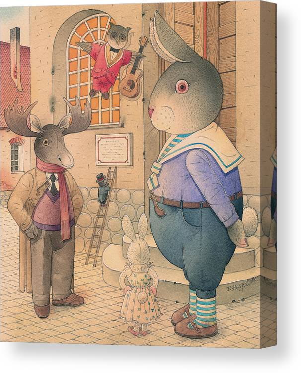 Party Evening Dance Rabbit Town Canvas Print featuring the painting Rabbit Marcus The Great 21 by Kestutis Kasparavicius
