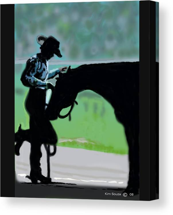 Horsemen Canvas Print featuring the painting Barn Time by Kim Souza