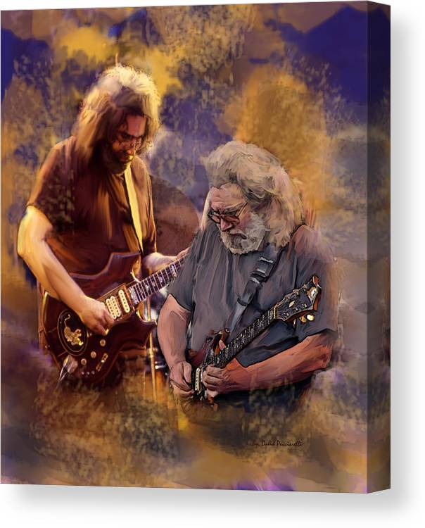 Grateful Dead Jerry Garcia Canvas Print featuring the painting Dream Colors Jerry Garcia Greatful Dead by Iconic Images Art Gallery David Pucciarelli