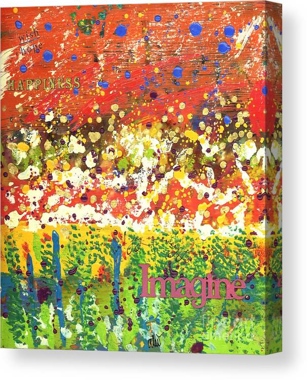 Wood Canvas Print featuring the mixed media Imagine Happiness by Angela L Walker