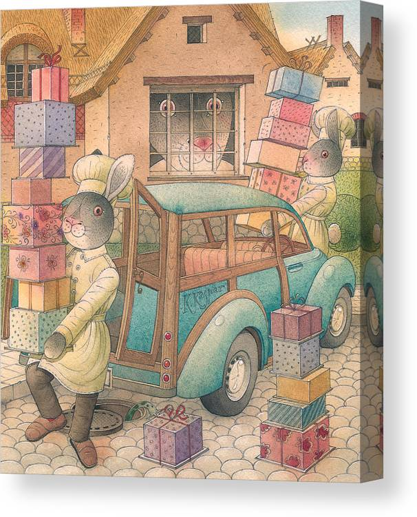 Birthday Rabbit Illustration Delicious Canvas Print featuring the painting Rabbit Marcus The Great 13 by Kestutis Kasparavicius