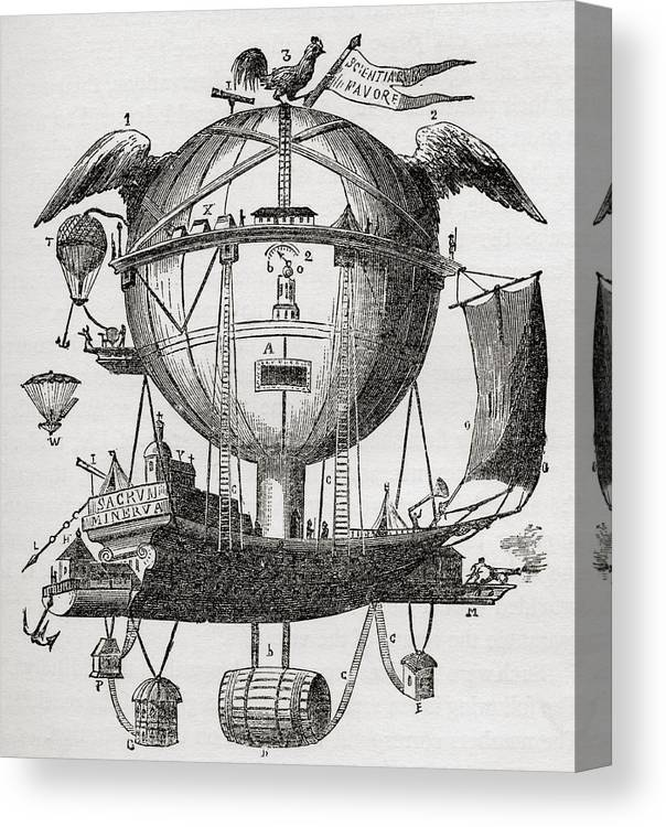Aeronaut Canvas Print featuring the drawing The Minerva Balloon Designed By Tienne by Vintage Design Pics