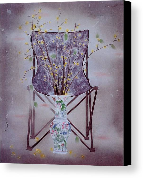 Flowers Painting Canvas Print featuring the painting Flowers In Vase-tranquility by Minxiao Liu