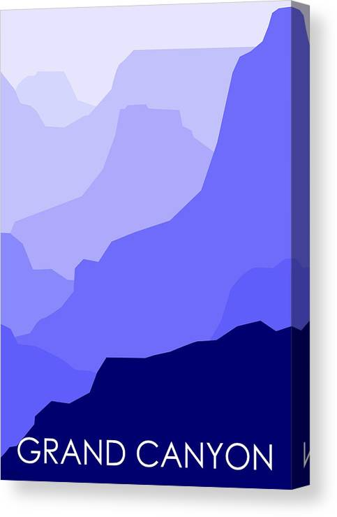 Grand Canyon Canvas Print featuring the digital art Grand Canyon Blue - Text by Asbjorn Lonvig
