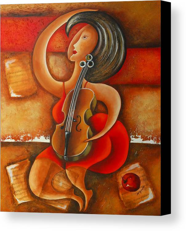 Abstract Expressionism Canvas Print featuring the painting A Woman And Her Violin by Marta Giraldo