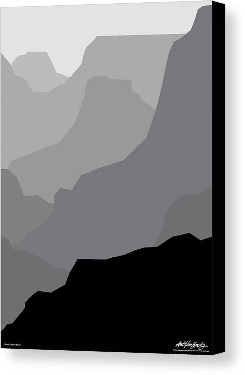 Grand Canyon Black Canvas Print featuring the digital art Grand Canyon Black by Asbjorn Lonvig