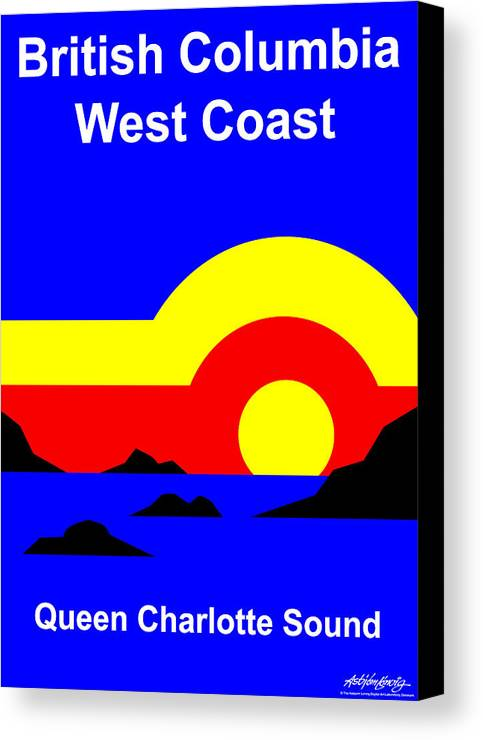 Queen Charlotte Sound Canvas Print featuring the digital art Qcs Sunset by Asbjorn Lonvig