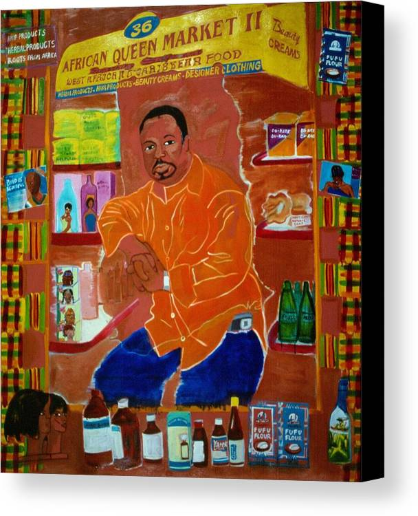 Newkirk Plaza Vendor Canvas Print featuring the painting African Queen Market by Nina Talbot