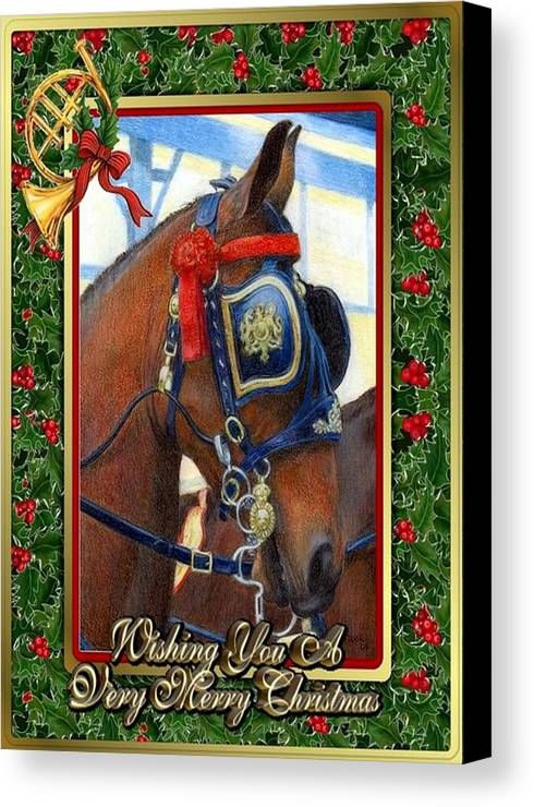 Cleveland Bay Horse Christmas Card Canvas Print featuring the drawing Cleveland Bay Horse Christmas Card by Olde Time Mercantile