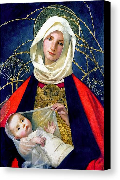 Madonna And Child Canvas Print featuring the painting Madonna And Child by Marianne Stokes