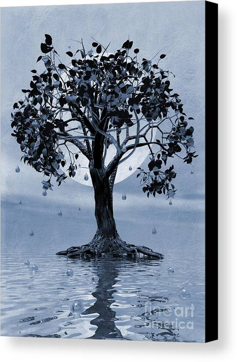 Weeping Tree Canvas Print featuring the painting The Tree That Wept A Lake Of Tears by John Edwards