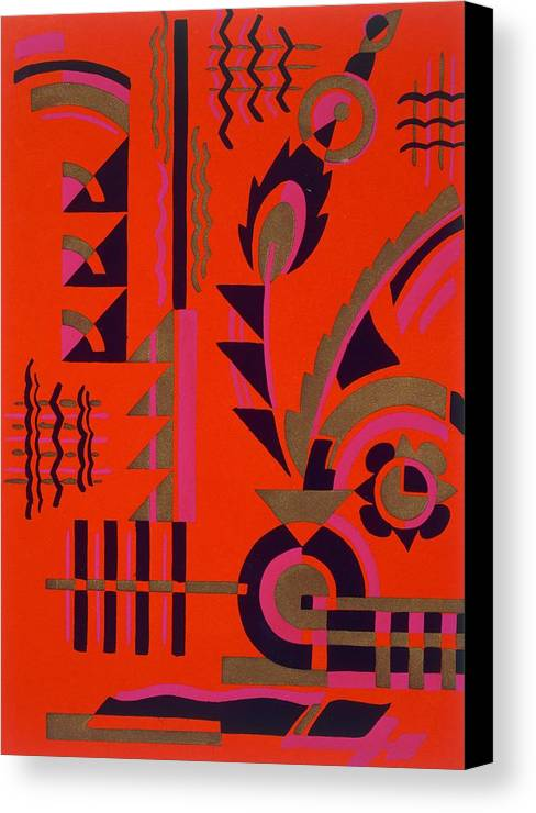 Motif Canvas Print featuring the painting Design From Nouvelles Compositions Decoratives by Serge Gladky