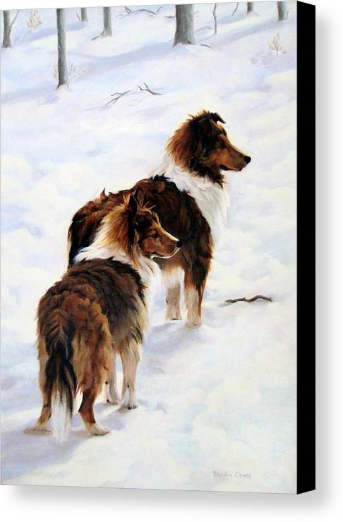 Dog Canvas Print featuring the painting The Little Sentinels by Sandra Chase