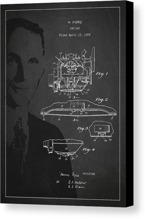 Henry Ford Canvas Print featuring the drawing Henry Ford Engine Patent Drawing From 1928 by Aged Pixel