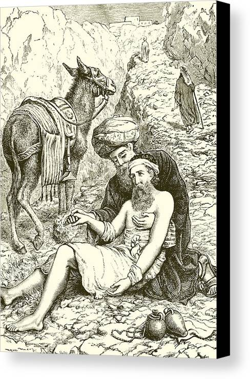 Bible Canvas Print featuring the drawing The Good Samaritan by English School