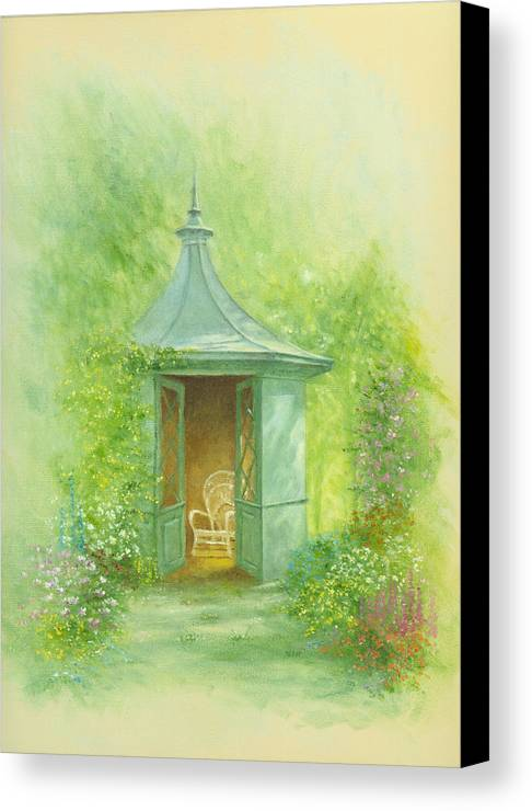 Architecture Canvas Print featuring the photograph A Seat In The Summerhouse by Garry Walton