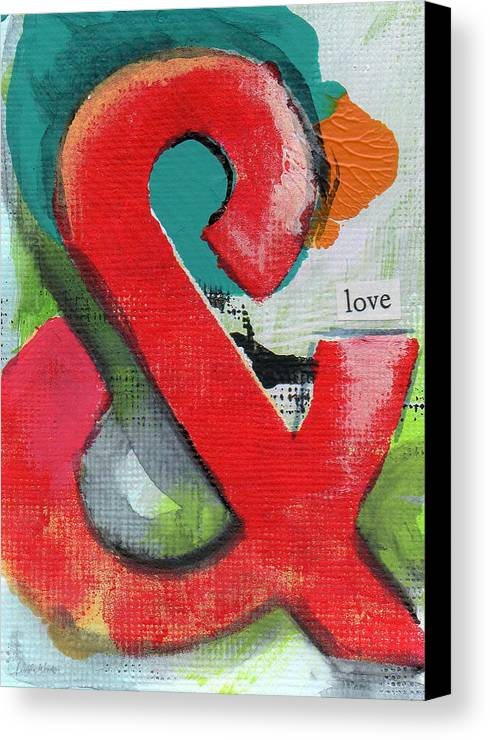 Love Canvas Print featuring the painting Ampersand Love by Linda Woods