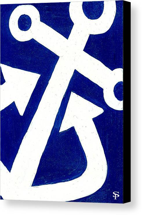 Anchor Canvas Print featuring the painting Anchor- Dark Blue by Catherine Peters