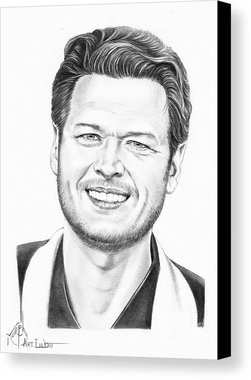 Pencil Canvas Print featuring the drawing Blake Shelton by Murphy Elliott