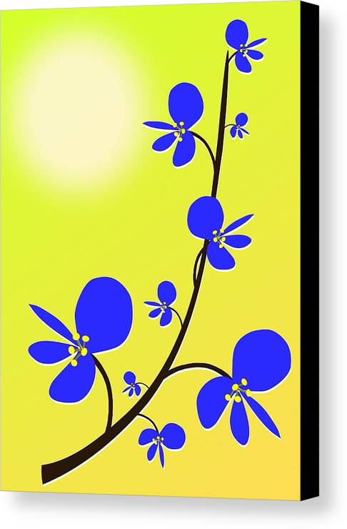Nature Canvas Print featuring the digital art Blue Flowers by Anastasiya Malakhova