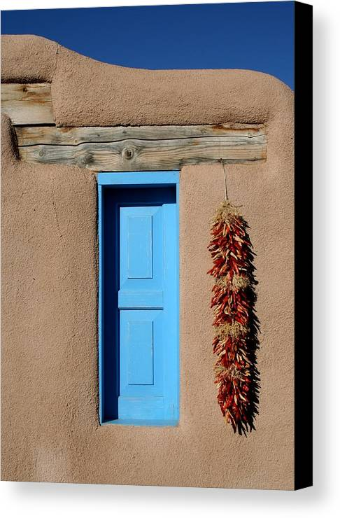 Taos Canvas Print featuring the photograph Blue Window Of Taos by Heidi Hermes