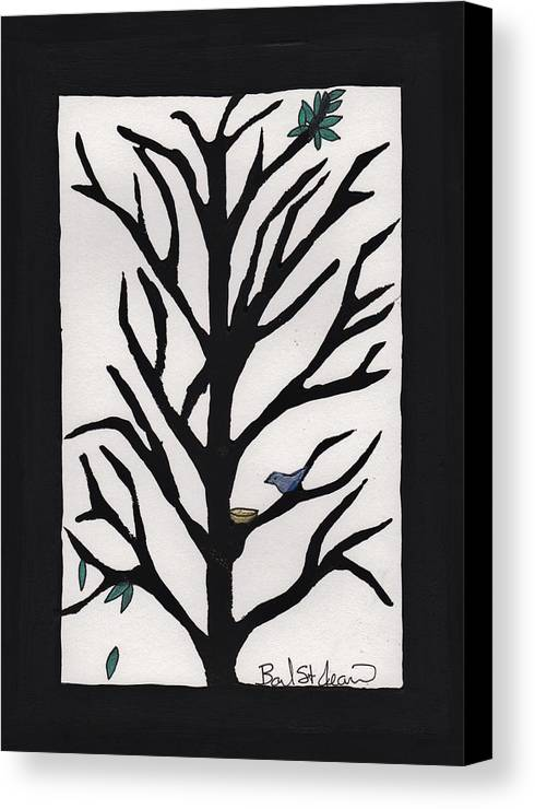 Bluebird In A Pear Tree Canvas Print featuring the painting Bluebird In A Pear Tree by Barbara St Jean