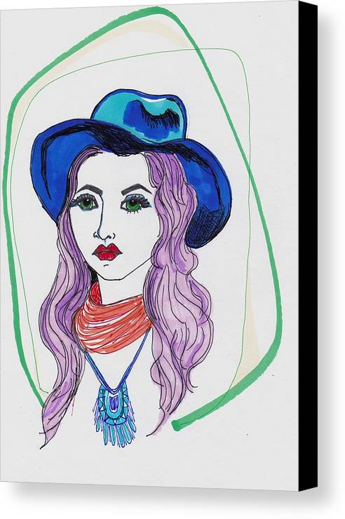 Bohemian Girl Canvas Print featuring the drawing Boho Girl by Rosalina Bojadschijew