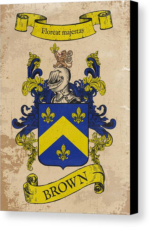 Coat Of Arms Canvas Print featuring the drawing Brown Coat Of Arms - England by Daniel Clark