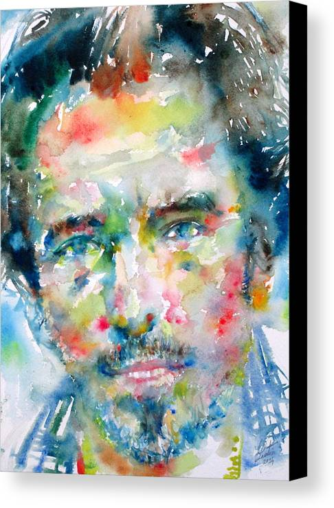 Bruce Canvas Print featuring the painting Bruce Springsteen Watercolor Portrait.1 by Fabrizio Cassetta