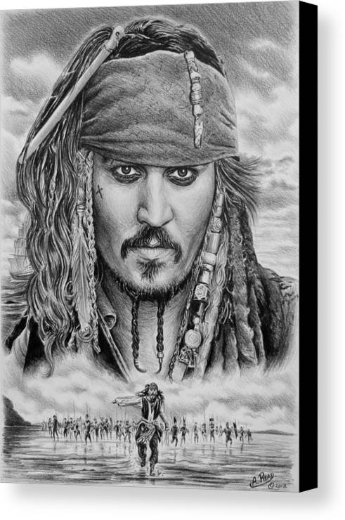 Andrew Read Canvas Print featuring the drawing Captain Jack Sparrow by Andrew Read