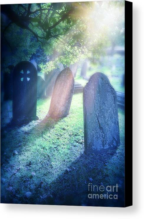 Grave Canvas Print featuring the photograph Cemetery Light by Jill Battaglia