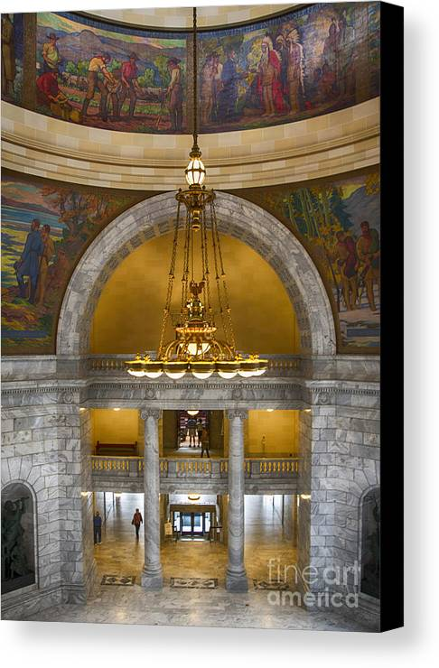 Chandelier Canvas Print featuring the photograph Chandelier At State House by Ruth H Curtis