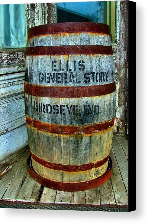 Old Barrels Canvas Print featuring the photograph Cheap Advertisement by Julie Dant