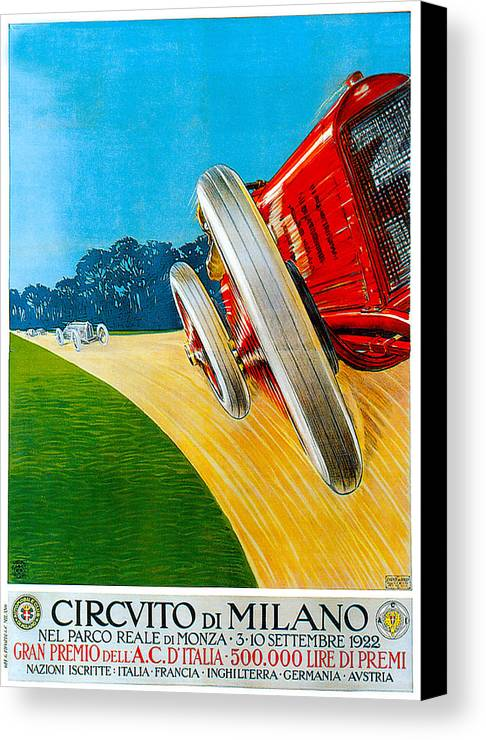 Vintage Automobile Ads And Posters Canvas Print featuring the photograph Circvito Di Milano by Vintage Automobile Ads and Posters